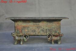 11.6china Dynasty Bronze Ware Auspicious Feng Shui Beast Statue Tableware Plate