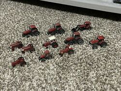 Lot Of Ertl Tractors And Implements Case Ih Ford Farm Toys 11 Pieces 1/64