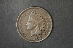 1902 - Indian Head - One Cent - 1 Cent Penny Coin - America - Usa Lj42