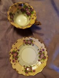 Lefton China Tea Cup And Saucer 801 Hdpainted