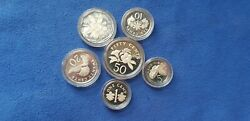 6 X Singapore Mint Silver Proof Coins - Mixed Year