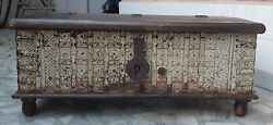 Antique Wooden Storage Box Carved Iron Fitted Floral Design Box Rustic Trunk