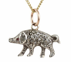Antique Victorian Gold And Silver Diamond Encrusted Lucky Pig Charm Pendant