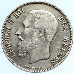 1869 Belgium With King Leopold Ii And Lion Antique Silver 5 Francs Coin I97699