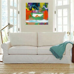Modern Canvas Art, Large Square Abstract Wall Decor, Acrylic Painting,milk Pool