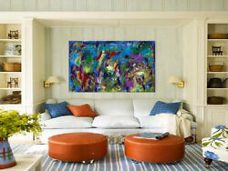 Large Blue Wall Decor Abstract Acrylic Painting On Canvasmodern Art3 Arcs