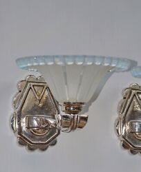 Gauthier Ezan A Pair Of French Opalescent 1930 Art Deco Wall Sconces . France