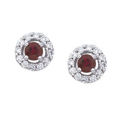 14k White Gold 5mm Round Ruby And Diamond Earrings