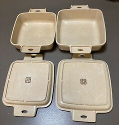4 Pc Vintage Littonware Microwave Cookware 39274, 39271 39275 And 39272 Square