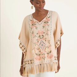 Chicos Rose Embroidered Poncho Peach Tassel Boho Large/ Xl