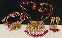 Miriam Haskell Set Vintage Gilt Red Pink Green Glass Rhinestone 3 Pc Signed A6