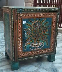 Vintage Hand Painted Iron Cabinet Cupboard Old Almirah New Painting Metal Shelf