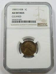 1909-s Vdb Ngc Au Details Lincoln Wheat Cent Penny 1c Us Coin Item 29440a