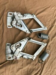 Real Ford 1965 1966 Mustang Hood Hinges With Factory Stampings Cleaned Plated