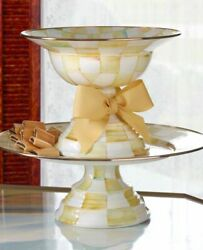 Brand New Mackenzie Childs Parchment Check Large Compote. Discontinued. Htf