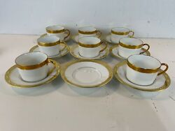 """Vintage Raynaud And Co. Limoges Porcelain """"ceralene"""" Set Of 8 Cups And Saucers"""