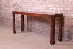 Baker Furniture Mid-century Hollywood Regency Oak And Burl Wood Console Table