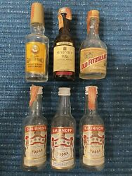 Lot Of 6 - Old Grand Dad Smirnoff Seagrams Old Fitzgerald Mini Bottle Glass