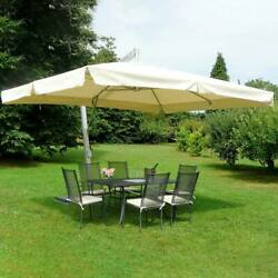 Maffei Made In Italy Parasol Large With Flying Silver Fiber Glass Ecru