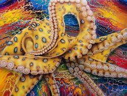 Blue Ringed Octopus Fluid Pour/airbrushed Original Painting