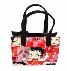 Betty Boop Diva Uniform Hearts Style Pink Red Square Tote Bag W/ Coin Purse Nwt