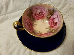 -aynsley England Cobalt Blue Tea Cup And Saucer With 4 Large Pink Cabbage Roses--