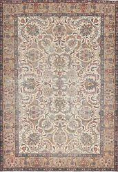 Vintage Floral Traditional Oriental Area Rug Wool Hand-knotted Ivory Carpet 7x9