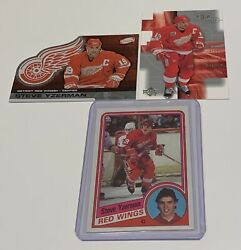 Steve Yzerman Red Wings 1984 Topps Rookie And Atomic Top Shelf Base 3 Card Lot