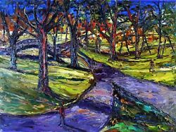 Arthur Robins Original Oil Central Park With Forked Path New York City Impasto