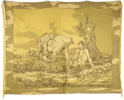 Hermes Wheat Gold And Brown Cheval Horse Print 100 Cashmere Throw Blanket