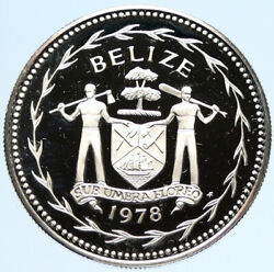 1978 Belize Avifauna Scarlet Macaw Bird Old Vintage Proof Silver 1 Coin I97454