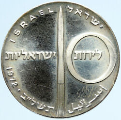 1972 Israel Jewish Rocket And Jet Airplane Old Proof Silver 10 Lirot Coin I97425