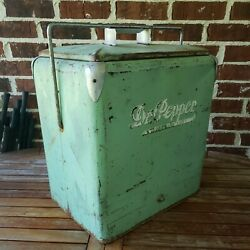 Rare Vintage Dr Pepper Soda 1950's All Metal Picnic Cooler Classic With Tray