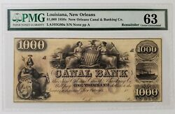 1850s 1000 New Orleans Canal And Banking Co. Pmg 63 Obsolete Currency Remainder