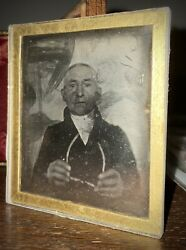 Early 1840 Daguerreotype Old Man Holding Glasses Paper Mat Rare 6th Plate