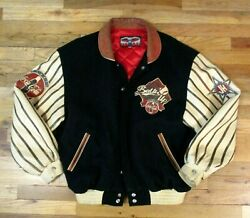 Sonic Drive-in Coca Cola Coke Jacket Wool Leather Vintage Baseball Large Mens