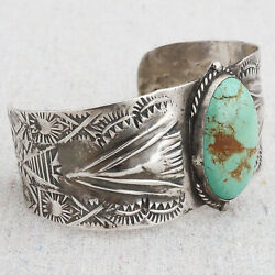 Antique Old Pawn Native American Navajo Turquoise Ingot Silver Cuff Bracelet