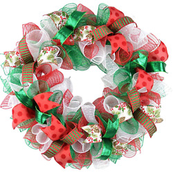 Traditional Christmas Wreaths | Red White Emerald Green Outdoor Mesh Front Door