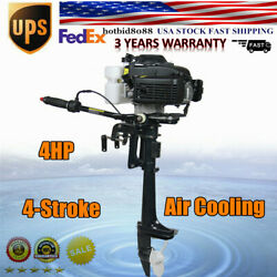 Outboard 4stroke Motor 4hp Fishing Boat Engine Air Cooling Short Shaft 40cm 52cc