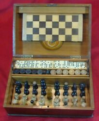 Antique 1920-30 Chess Set And Set Of Checkers And Dominoes Original Wooden Box
