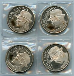 Lot Of Four Tom Landy Dallas Cowboys Limited Edition 1 Oz 999 Fine Silver Rounds