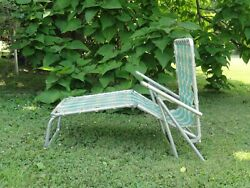 Vintage Aluminum Tri-fold Lounge Chair Chaise Green Red Yellow White 1950's