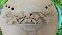 Floral Old Cast Iron Metal Ornamental Architectural Fragment Top Topper Gate