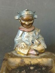 Vintage Austrian Bronze Pipe Smoking Nodder Bobble Head Ashtray Cold Painted T7