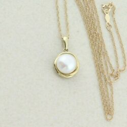 10k Yellow Gold Button Pearl Necklace With 18 Inch Chain