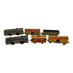 Lot Of 2-vintage Marx Marlines Wind Up Train Set Engine 376 Tin Litho With Cars