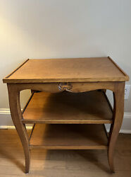 French Provincial 3 Tier End Table Carved Shell Darby
