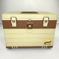 Vtg 80s Plano 757 - Large Tackle Box - Beige Brown - Multi Compartment