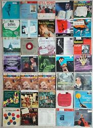 45 Rpm Records - 35 Vinyl Singles And Sleeves - Vintage 1950s Pop, Jazz, Big Band