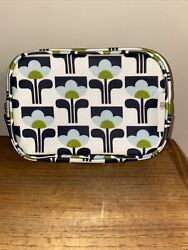 Orla Kiely Small Cosmetic Bag Navy Light Blue Olive New Without Tags Target Mod $18.00